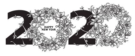 Happy New Year 2020 flower drawing black and white isolated on white background.