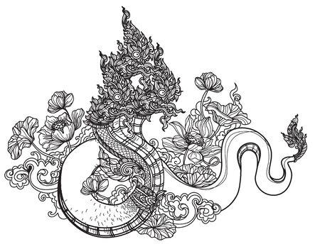 Tattoo art thai Snake pattern literature hand drawing sketch