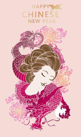 Chinese new year 2020 festival dragon and women Illusztráció