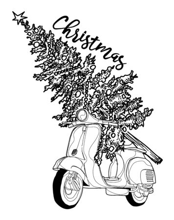 Christmas car vintage sketch with a christmas tree Banque d'images - 137664375