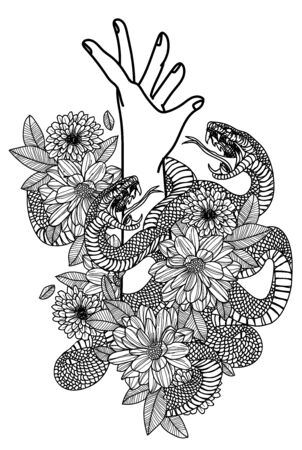 Tattoo art hand and snake in flower drawing and sketch black and white Illusztráció