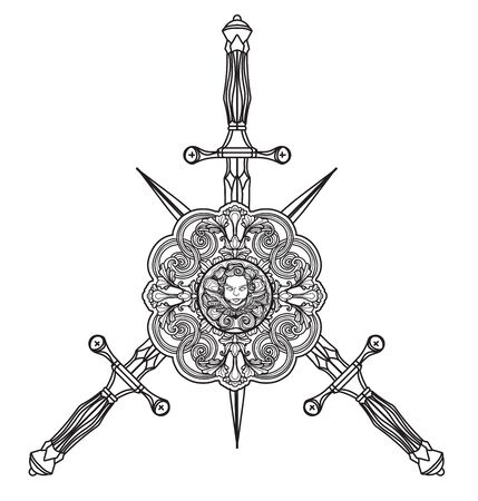 Tattoo art sword drawing and sketch black and white isolated on white background.