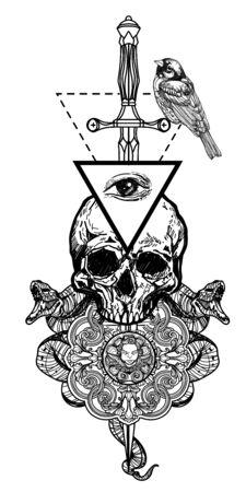 Tattoo art tattoo skull and sword hand drawing black and white Illusztráció