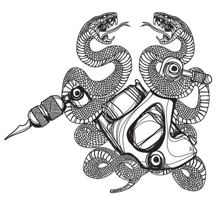 tattoo machine and snake Isolated on white background.