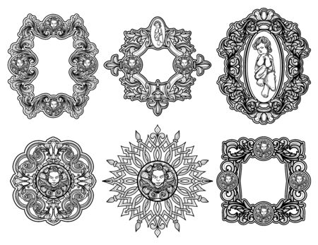 Small angel set of Baroque Frame Silhouettes