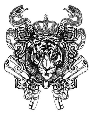 Tattoo art lion and gun hand drawing black and white