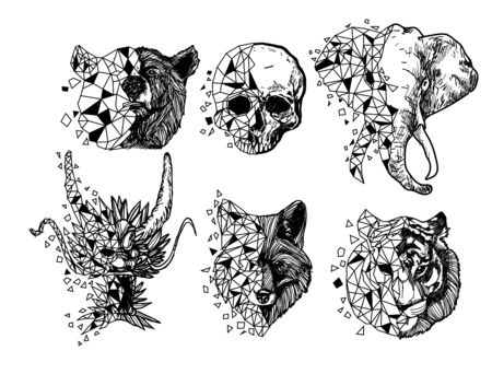 Tattoo art tiger dragon wolf elephant skull drawing and sketch black and white isolated on white background.