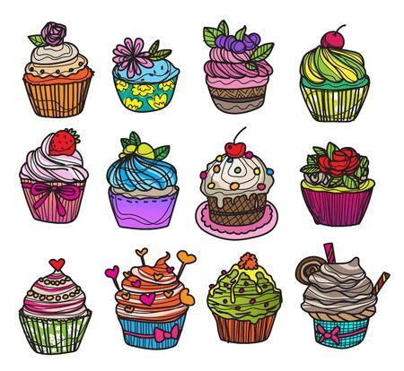 bakery and cake cartoon set hand drawing and sketch Illusztráció
