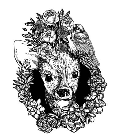 deer and flowers sketch monochrome head black and white
