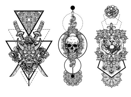 Tattoo art drawing and sketch black and white isolated on white background.