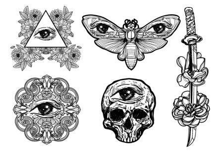 Tattoo art eye  hand sketch black and white on white background.