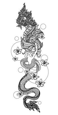Tattoo art women thai snake pattern literature hand drawing sketch