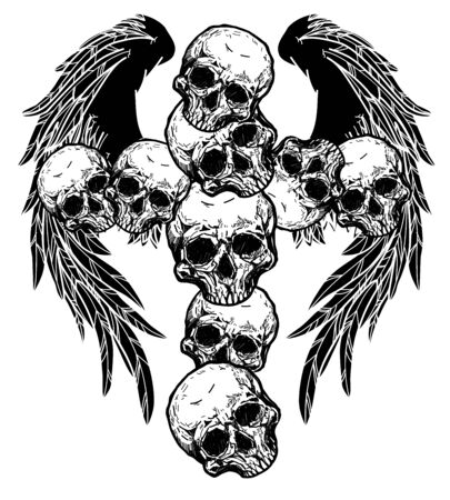 tattoo skull and wings black cross