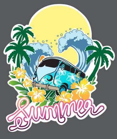 Classic car summer surrounded by sea and coconut trees