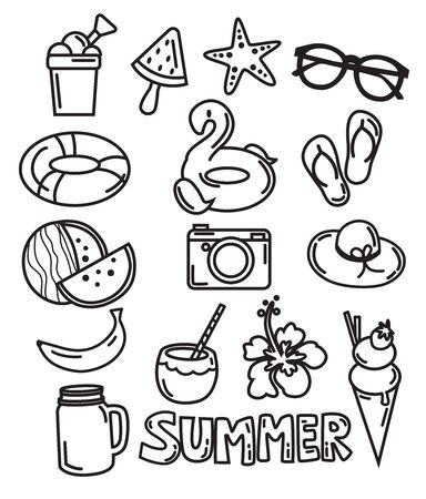 icon summer hand drawing black and white