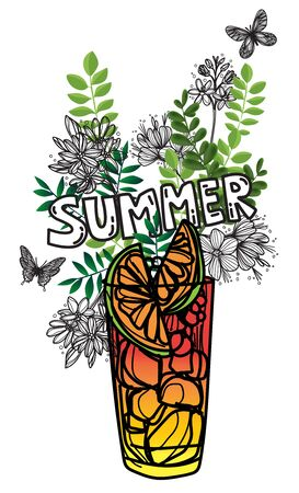Summer juice cup with flowers, leaves and butterflies