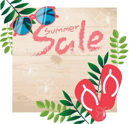 Summer sale tropical banner poster template