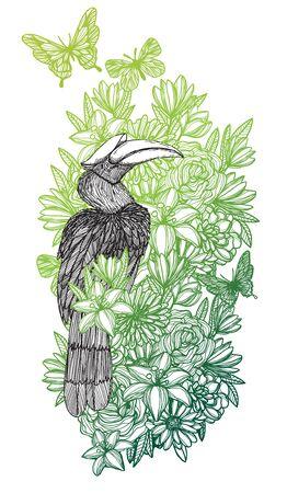 Tattoo art bird in the flower forest hand drawing and sketch Illusztráció