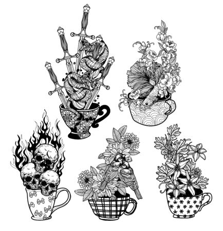Tattoo art coffee mugs packing things with line art illustration isolated on white background. Illusztráció