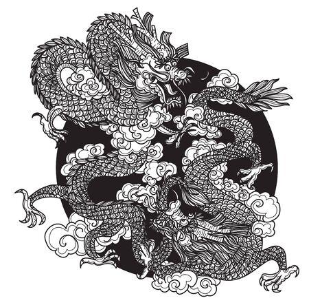 Tattoo art dargon hand drawing and sketch black and white Illusztráció