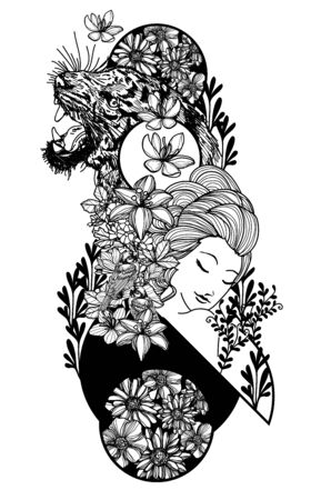 Tattoo art women tiger and flower hand drawing