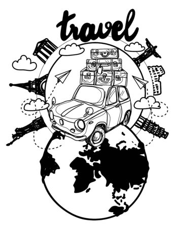 drawing the car travel around the world