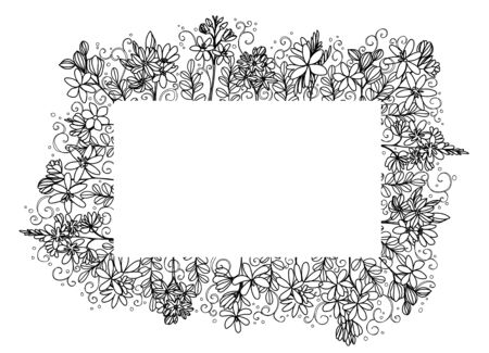 flowers frame hand drawing and sketch black and white