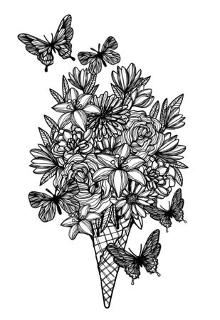 flowers in waffle cone ice cream hand drawing black and white