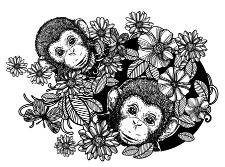 Nature hand drawing monkey flowers and butterfly sketch black and white isolated on white background.