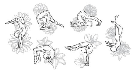 Silhouettes girl practicing yoga stretching exercises background flower