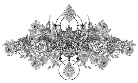 Tattoo art giant hand drawing and sketch black and white Vektoros illusztráció