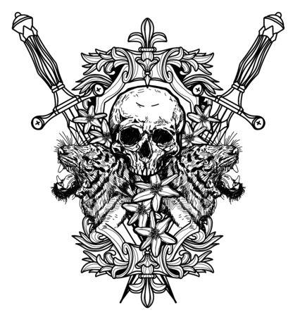 Tattoo art skull hand drawing black and white Illusztráció