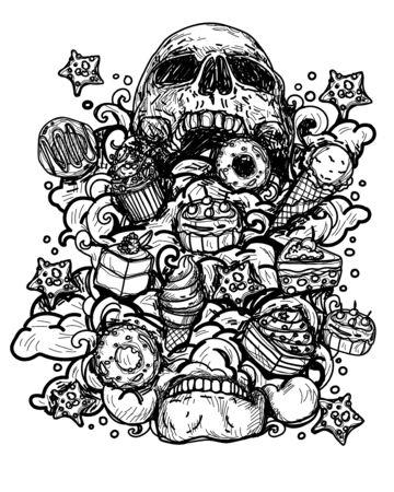 Tattoo art skull inside cake and bakery on white background. Illusztráció