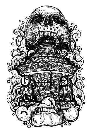 Skull inside rotating horses merry-go-round carousel black silhouette on white background.