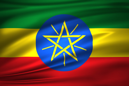 Ethiopia 3D waving flag illustration. Texture can be used as background. Stock Photo