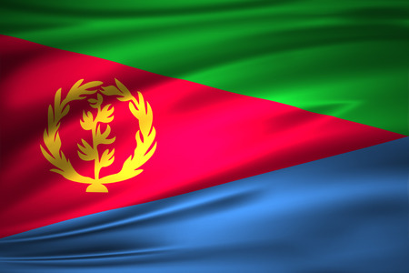 Eritrea 3D waving flag illustration. Texture can be used as background. Stock Photo