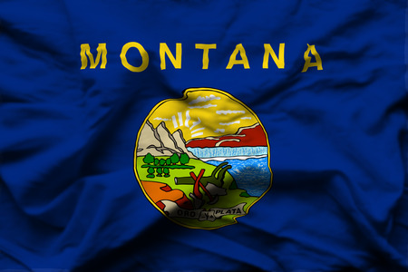 Montana 3D wrinkled flag illustration. Usable for background and texture. 스톡 콘텐츠