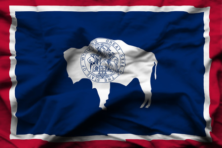 Wyoming 3D wrinkled flag illustration. Usable for background and texture.