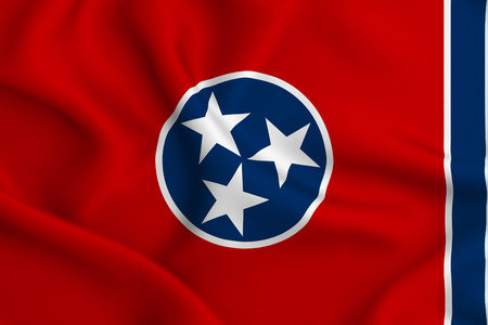 Tennessee 3D waving flag illustration. Texture can be used as background.