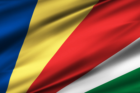 Seychelles 3D waving flag illustration. Texture can be used as background. Фото со стока