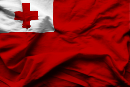 Tonga 3D wrinkled flag illustration. Usable for background and texture.