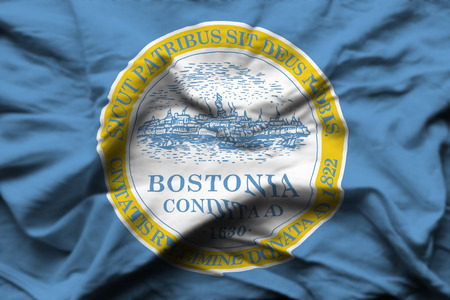 Boston 3D wrinkled flag illustration. Usable for background and texture.