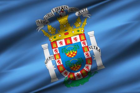 Melilla 3D waving flag illustration. Texture can be used as background. Reklamní fotografie