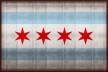 Chicago rusty flag illustration. Usable for background and texture. Stock Photo