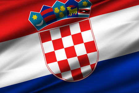 Croatia 3D waving flag illustration. Texture can be used as background. Stock Illustration - 109906898