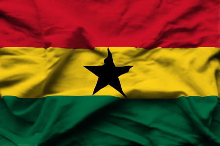 Ghana 3D wrinkled flag illustration. Usable for background and texture. 스톡 콘텐츠