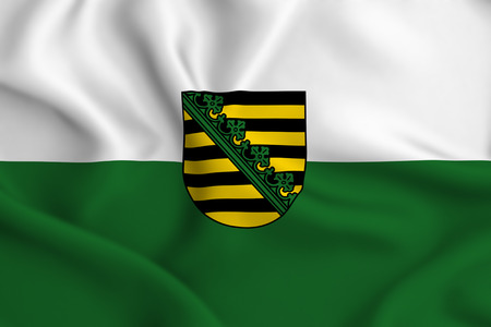 Saxony  3D waving flag illustration. Texture can be used as background. Standard-Bild - 109907081