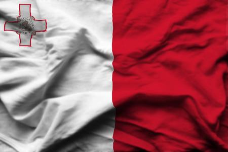 Malta 3D wrinkled flag illustration. Usable for background and texture.