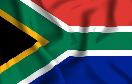 South Africa 3D waving flag illustration. Texture can be used as background.