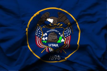 Utah 3D wrinkled flag illustration. Usable for background and texture.
